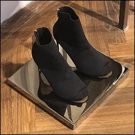 High Heel Black Chrome Pedestal Plinth at Karen Millen