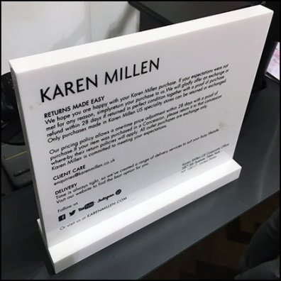 Return Policy Plaque At Karen Millen Flagship Store