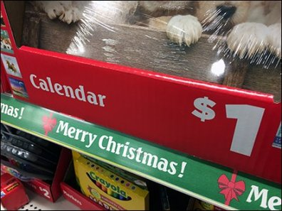 One Dollar Christmas Calendars in Corrugated