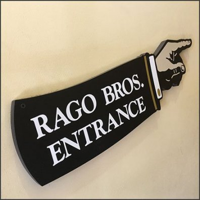 Rago Bros Index Vintage Directional Sign