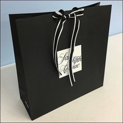 Saks Fifth Avenue Ribbon Tie Branded Shopping Bag Feature