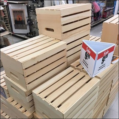 Triangular Sign For Wood Crate Merchandising