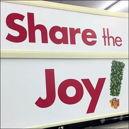 Big Lots Store Fixtures - Share The Joy Endcap Sign At Big Lots