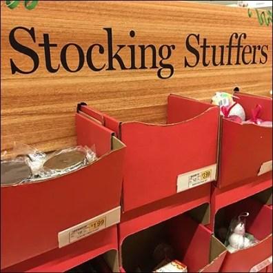 Christmas Stocking Stuffers Corragated Bulk Bin Feature