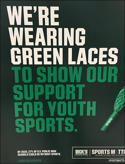 Dick's Green Shoe Laces Signage