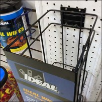 Gravity Feed Pegboard Rack for Ideal Wipes