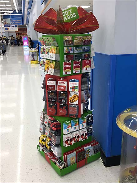 Mini Christmas Gift Card Tower At Walmart Fixtures Close Up
