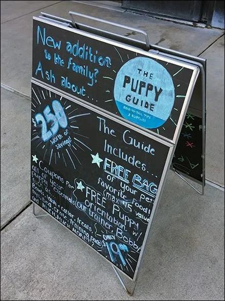 Puppy Guide Chalkboard Sidewalk Sign
