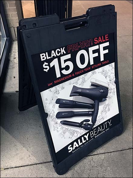 Sally Beauty Retail Fixtures - Sally Beauty Black Friday Sale Easel