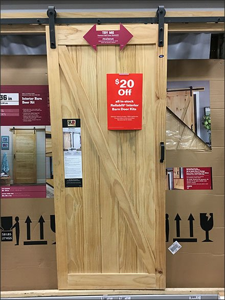 Working Barn Door Hardware Display In Store