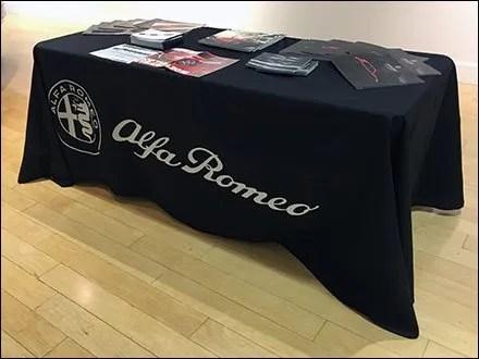 Alfa Romeo Branded Table Drape At The Mall