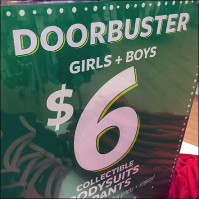 Doorbusters Vertical Acrylic Table-Top Sign