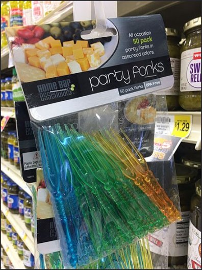 New Year's Party Forks for Pickles Strip Merchandiser