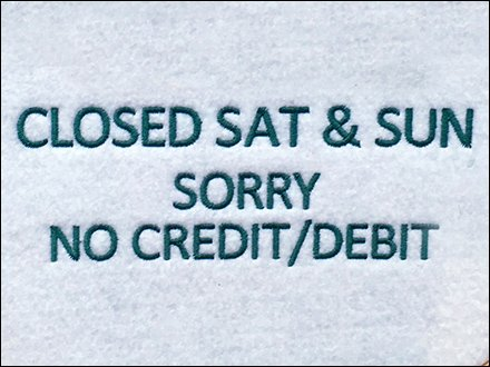 CREDIT TERMS Embroidered Sign