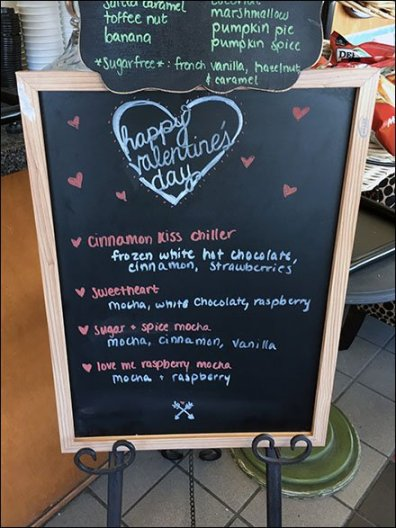 Coffee Shop Valentines Day Menu Easel