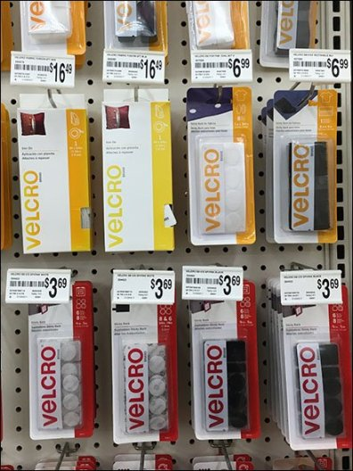 Velcro In-Line Gondola Merchandising