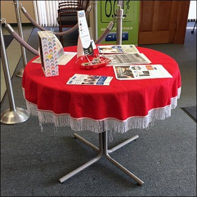 Romantic Red Table Drape With Lollipops
