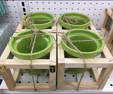 Twine Tied Flowerpots in Wood Carriers
