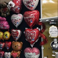 Wall of Oversize Valentine's Day Inflatable Balloons