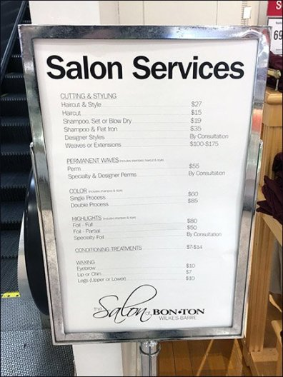 Salon Services Menu Sign At BonTon