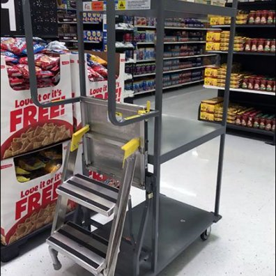 Stocking Cart Features Built In Step Ladder Fixtures