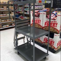 Stocking Cart Features Built-In Step Ladder