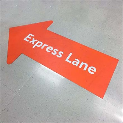 Express Lane Floor Graphic Directional Feature