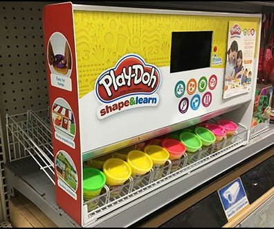 Gravity Feed Inline Shelf Display for Play-Doh