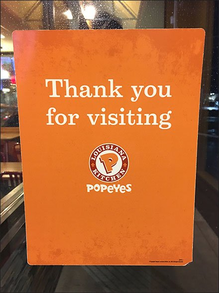 Popeyes Thank You For Visiting Door Decal