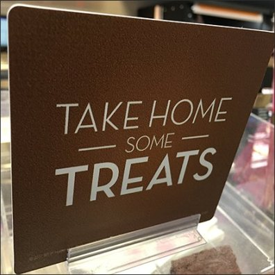 Take Home Some Treats Adhesive Sign Clip Feature