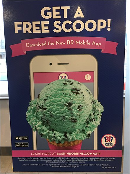 Mobile Apps in Retail - Free Ice Cream Mobile App Door Decal