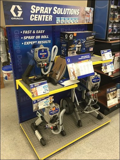 Paint Sprayer Solutions Center Display By Graco