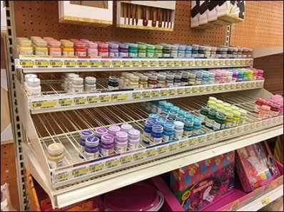 Gravity Feed Acrylic Paint Shelf Top Rack