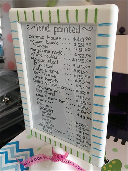 Hand-Lettered Price List For Hand-Painted Items