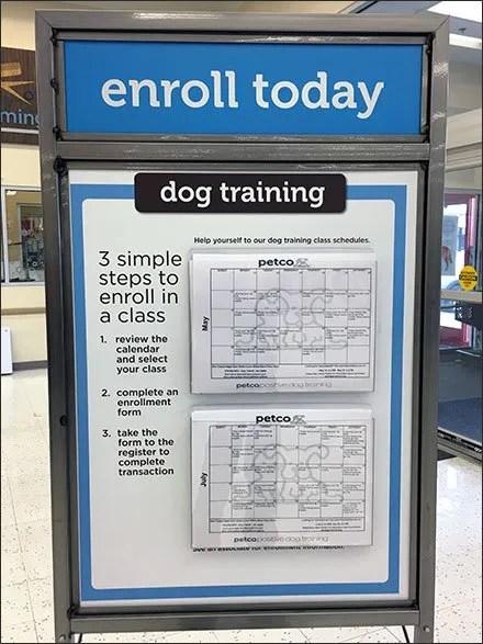 Petco Dog Training Calendar Entry Sign – Fixtures Close Up