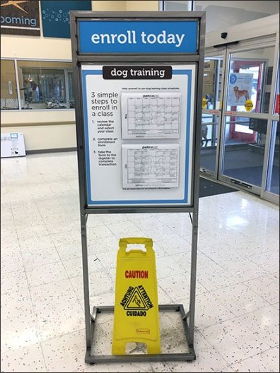 Petco Dog Training Calendar Entry Sign