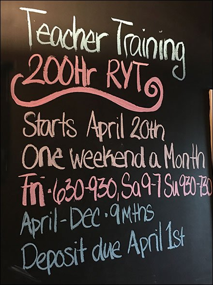 Yoga Teacher Chalkboard Announcement