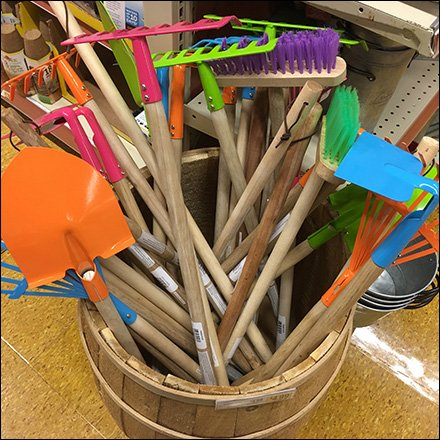 Wood Barrel Garden Tool Merchandising