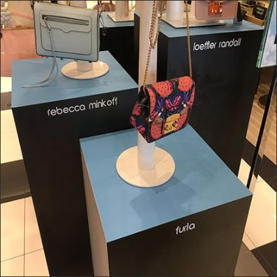 Branded Purse Pedestal Triplet Display