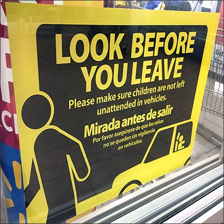 Look Before You Leave Child Car Warning Feature