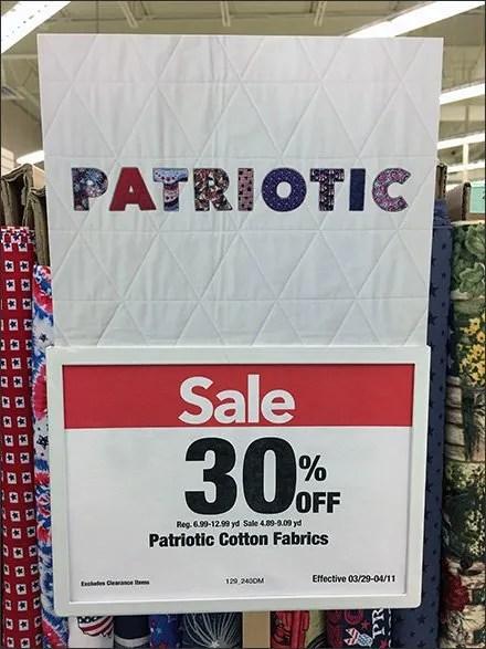 Patriotic Fabric Signing Details In Closeup