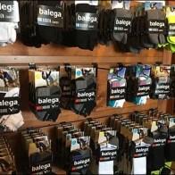 Wood Slatwall Sportswear Sock Display