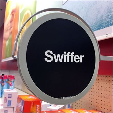 Swiffer Spot Branded Gondola Upright Sign Feature
