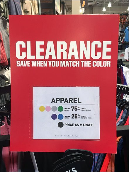 Color Coded Clearance Sign At Dick's