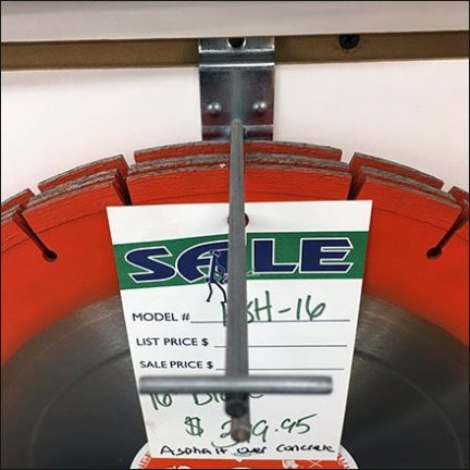 Concrete Saw Blade Merchandising On Slatwall