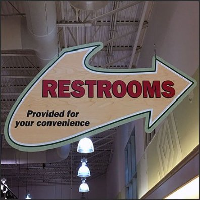 Giant Restrooms Provided For Your Convenience