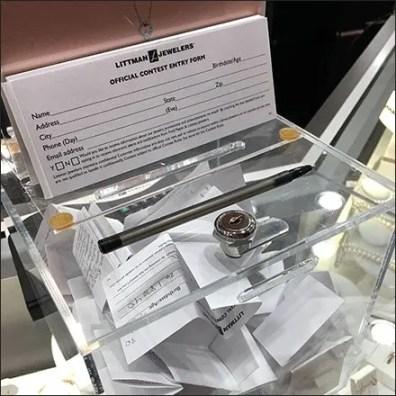 Littmans Diamond Party Raffle Entry Ballot Box