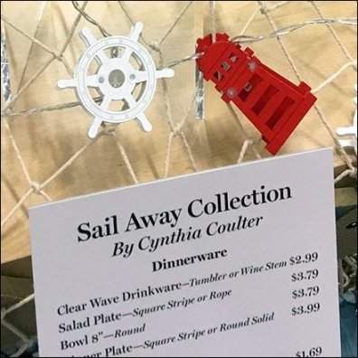 Nautical Tableware Price List Menu