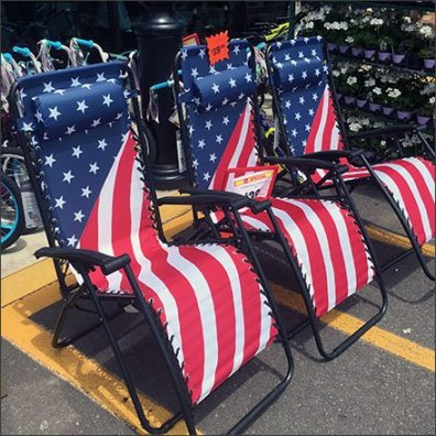 Patriotic Patio Lounger Parking Lot Sale