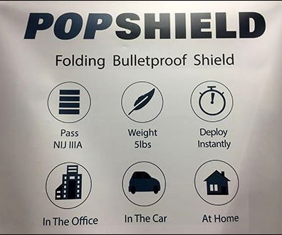 PopShield Bulletproof Shield Pop-Up Banner